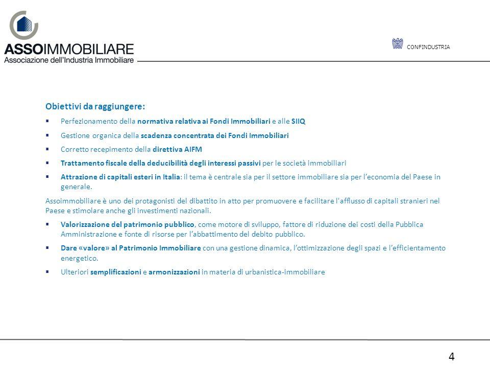 CONFINDUSTRIA 4 Obiettivi da raggiungere: Perfezionamento della normativa relativa ai Fondi Immobiliari e alle SIIQ Gestione organica della scadenza c