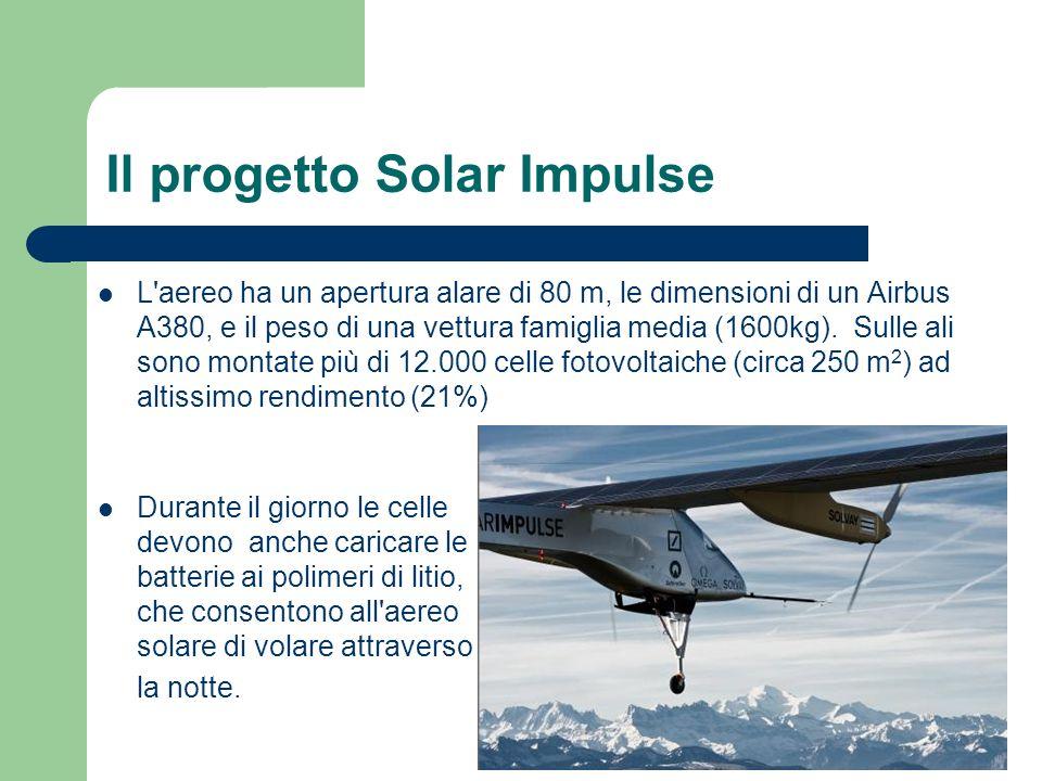 Il progetto Solar Impulse L'aereo ha un apertura alare di 80 m, le dimensioni di un Airbus A380, e il peso di una vettura famiglia media (1600kg). Sul
