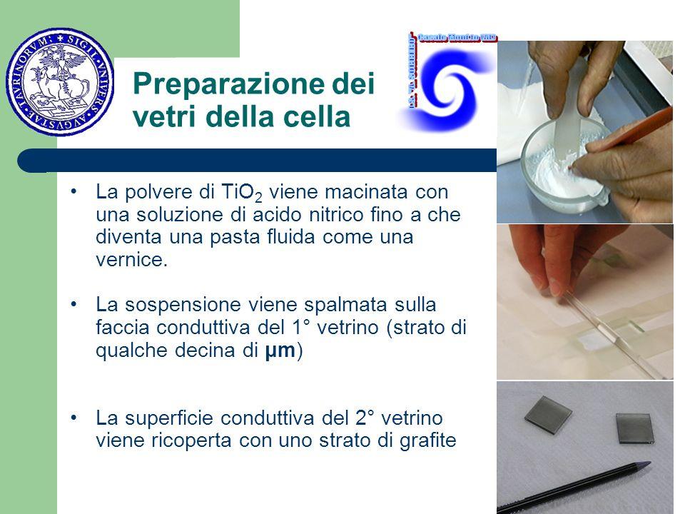 Preparazione dei vetri della cella La polvere di TiO 2 viene macinata con una soluzione di acido nitrico fino a che diventa una pasta fluida come una vernice.