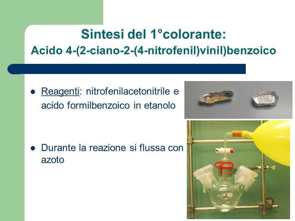 Sintesi del 1°colorante: Acido 4-(2-ciano-2-(4-nitrofenil)vinil)benzoico Reagenti: nitrofenilacetonitrile e acido formilbenzoico in etanolo Durante la reazione si flussa con azoto