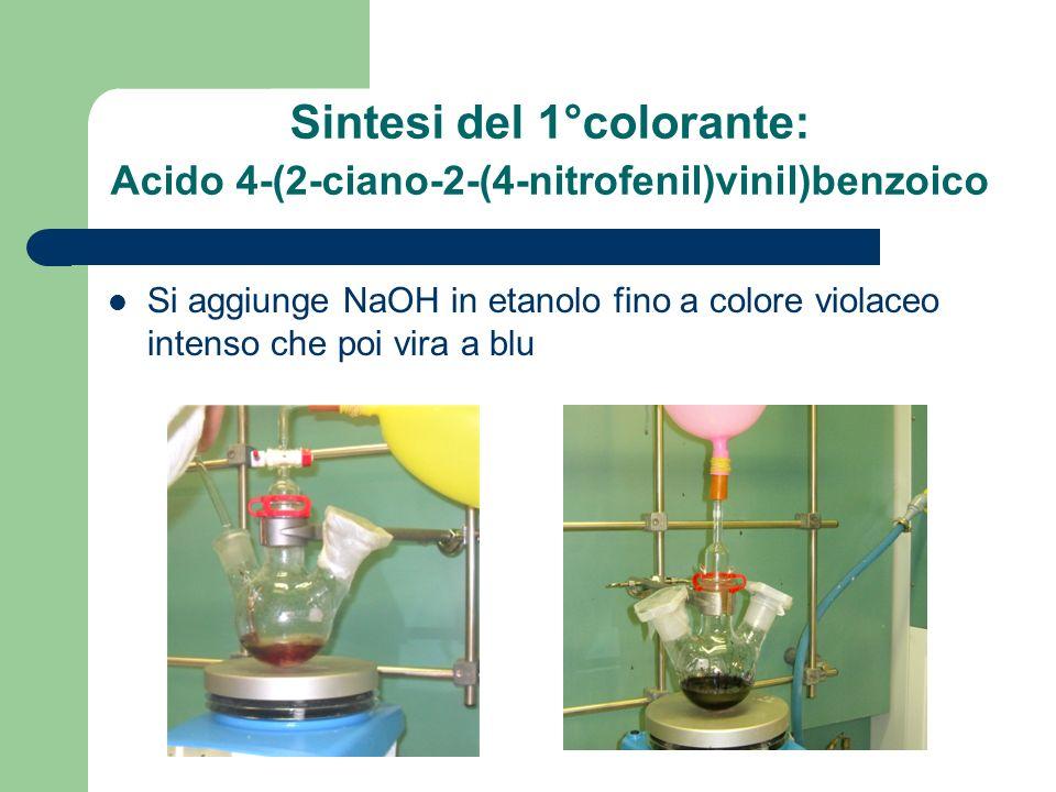 Si aggiunge NaOH in etanolo fino a colore violaceo intenso che poi vira a blu Sintesi del 1°colorante: Acido 4-(2-ciano-2-(4-nitrofenil)vinil)benzoico