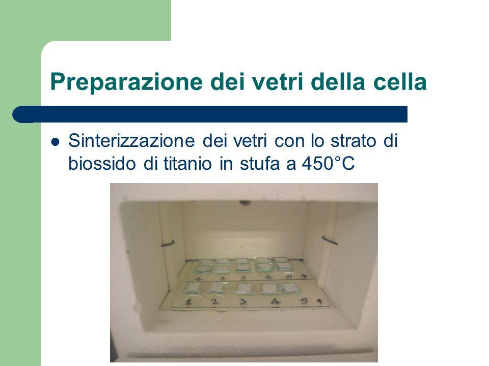 Preparazione dei vetri della cella Sinterizzazione dei vetri con lo strato di biossido di titanio in stufa a 450°C