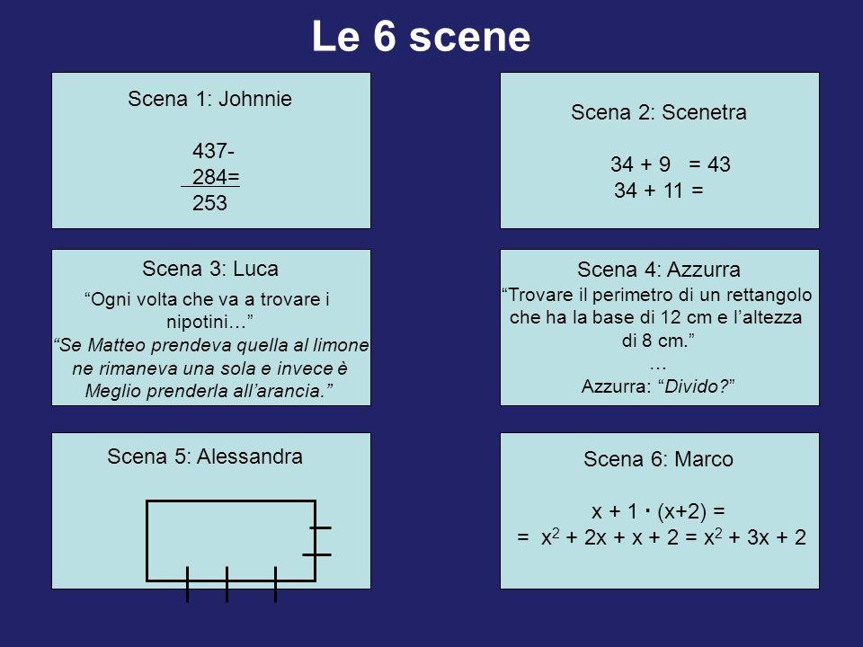 Scena 1: Johnnie 437- 284= 253 Scena 3: Luca Ogni volta che va a trovare i nipotini… Se Matteo prendeva quella al limone ne rimaneva una sola e invece è Meglio prenderla allarancia.