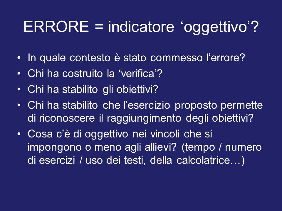 ERRORE = indicatore oggettivo. In quale contesto è stato commesso lerrore.