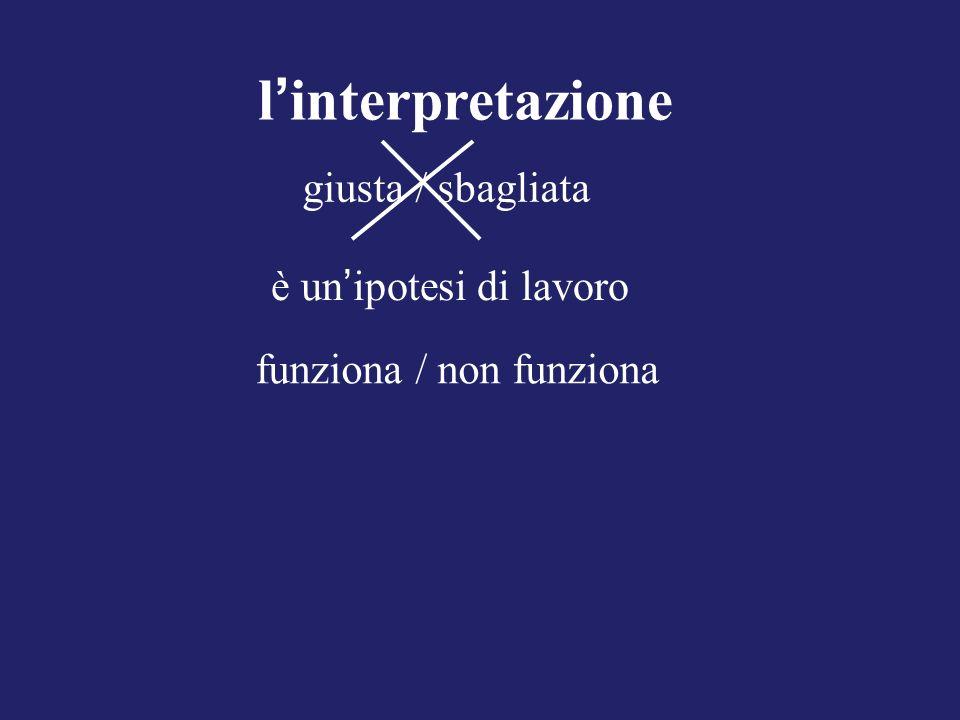 l interpretazione giusta / sbagliata è un ipotesi di lavoro funziona / non funziona