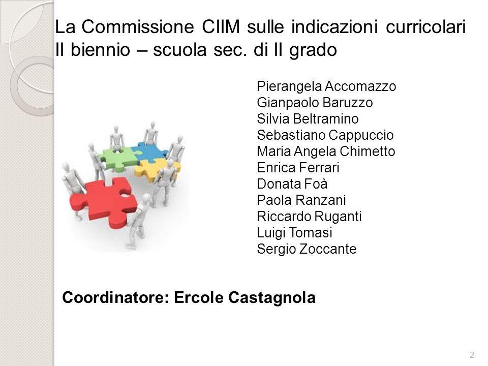 3 Linee guida indicate dalla CIIM: Continuità con le indicazioni curricolari e con il percorso già realizzato per il primo biennio.