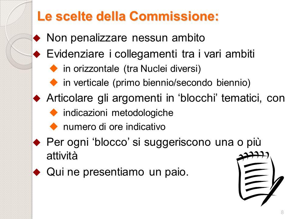 8 Le scelte della Commissione: Non penalizzare nessun ambito Evidenziare i collegamenti tra i vari ambiti in orizzontale (tra Nuclei diversi) in verti
