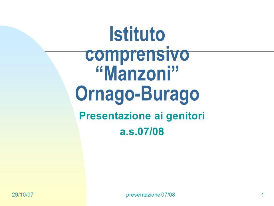 29/10/07presentazione 07/081 Istituto comprensivo Manzoni Ornago-Burago Presentazione ai genitori a.s.07/08