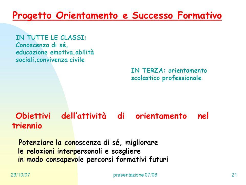 29/10/07presentazione 07/0821 Obiettivi dellattività di orientamento nel triennio Progetto Orientamento e Successo Formativo Potenziare la conoscenza
