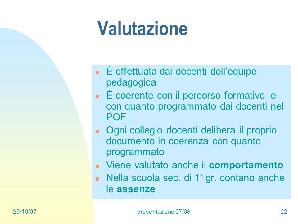 29/10/07presentazione 07/0822 Valutazione È effettuata dai docenti dellequipe pedagogica È coerente con il percorso formativo e con quanto programmato