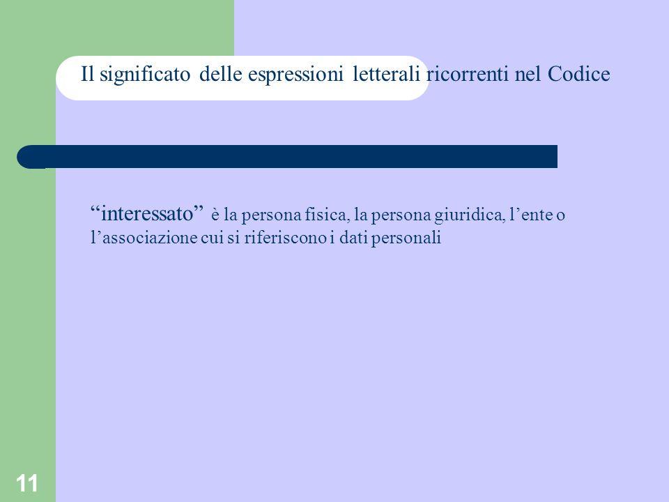 11 Il significato delle espressioni letterali ricorrenti nel Codice interessato è la persona fisica, la persona giuridica, lente o lassociazione cui s