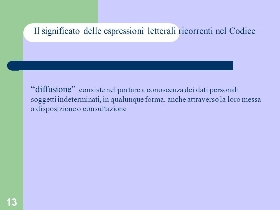 13 Il significato delle espressioni letterali ricorrenti nel Codice diffusione consiste nel portare a conoscenza dei dati personali soggetti indetermi
