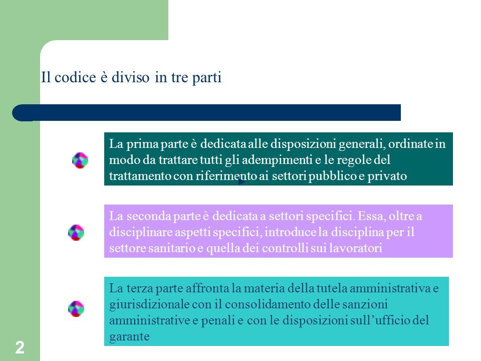 2 Il codice è diviso in tre parti La prima parte è dedicata alle disposizioni generali, ordinate in modo da trattare tutti gli adempimenti e le regole
