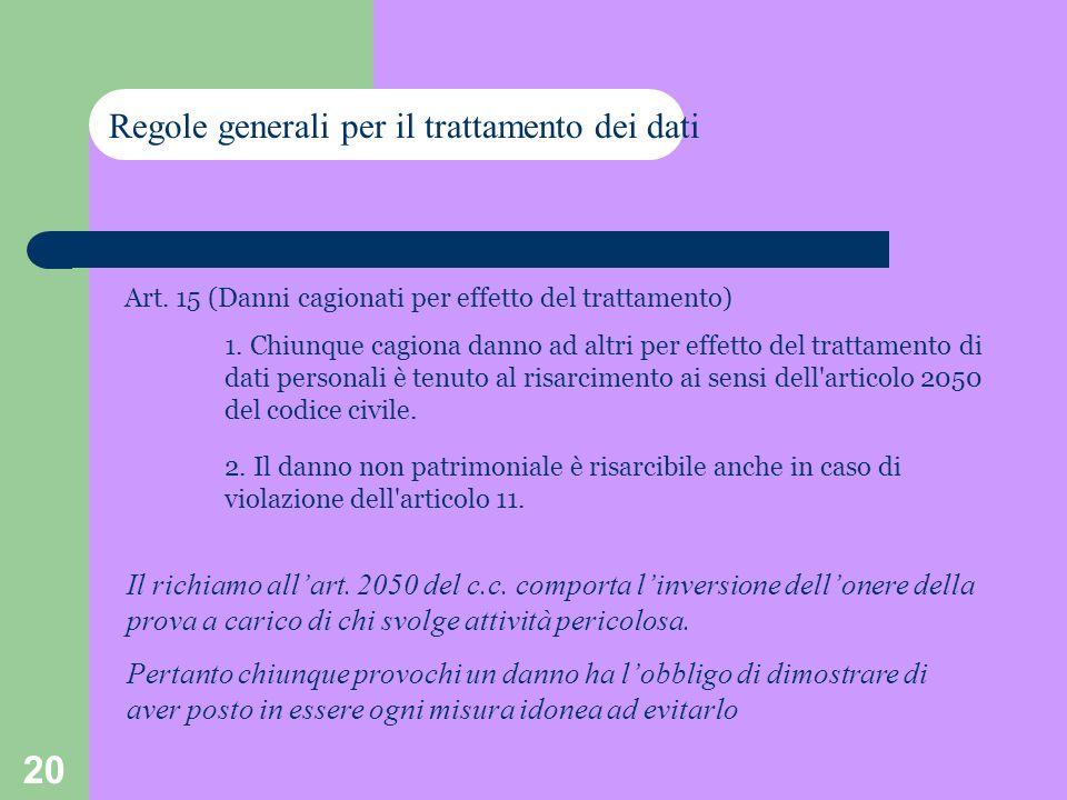 20 Art. 15 (Danni cagionati per effetto del trattamento) 1. Chiunque cagiona danno ad altri per effetto del trattamento di dati personali è tenuto al