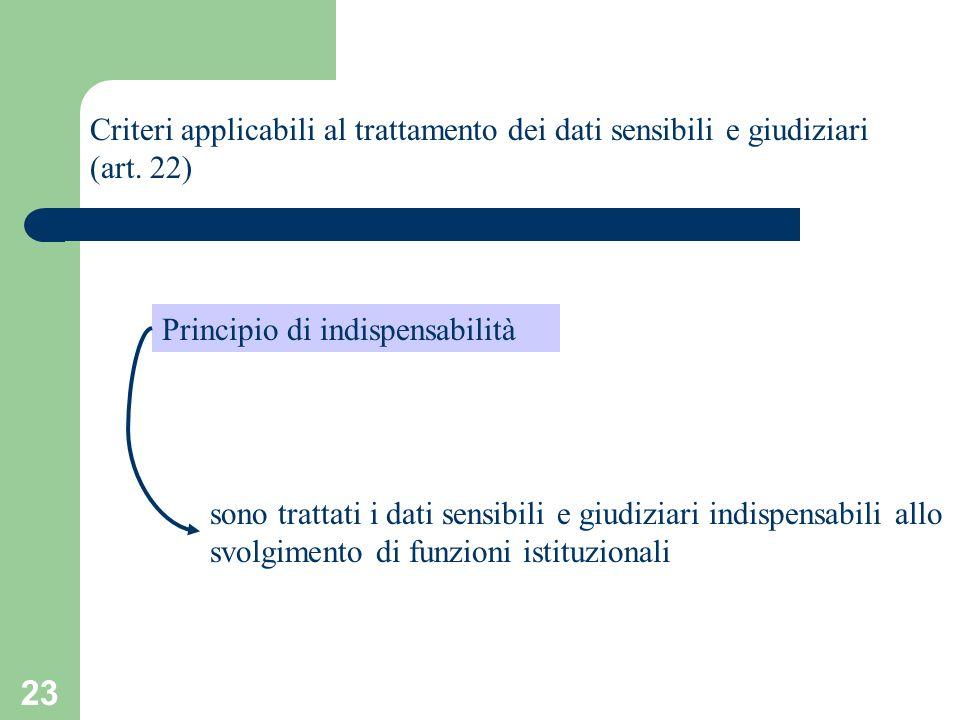 23 Criteri applicabili al trattamento dei dati sensibili e giudiziari (art. 22) Principio di indispensabilità sono trattati i dati sensibili e giudizi