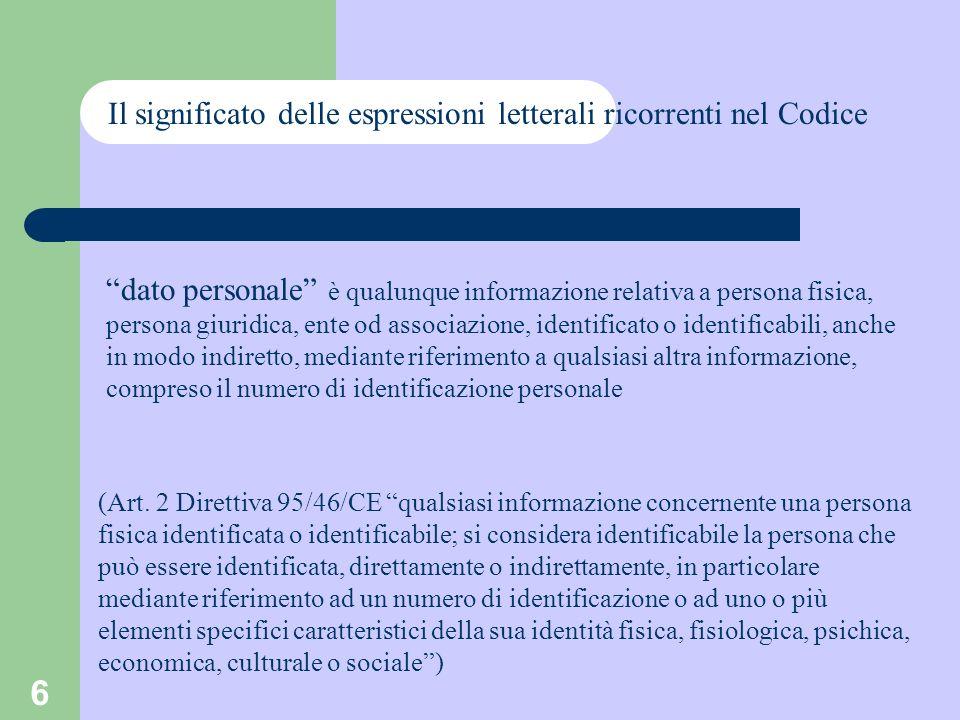6 Il significato delle espressioni letterali ricorrenti nel Codice dato personale è qualunque informazione relativa a persona fisica, persona giuridic