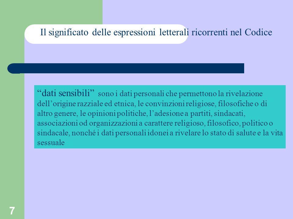7 Il significato delle espressioni letterali ricorrenti nel Codice dati sensibili sono i dati personali che permettono la rivelazione dellorigine razz