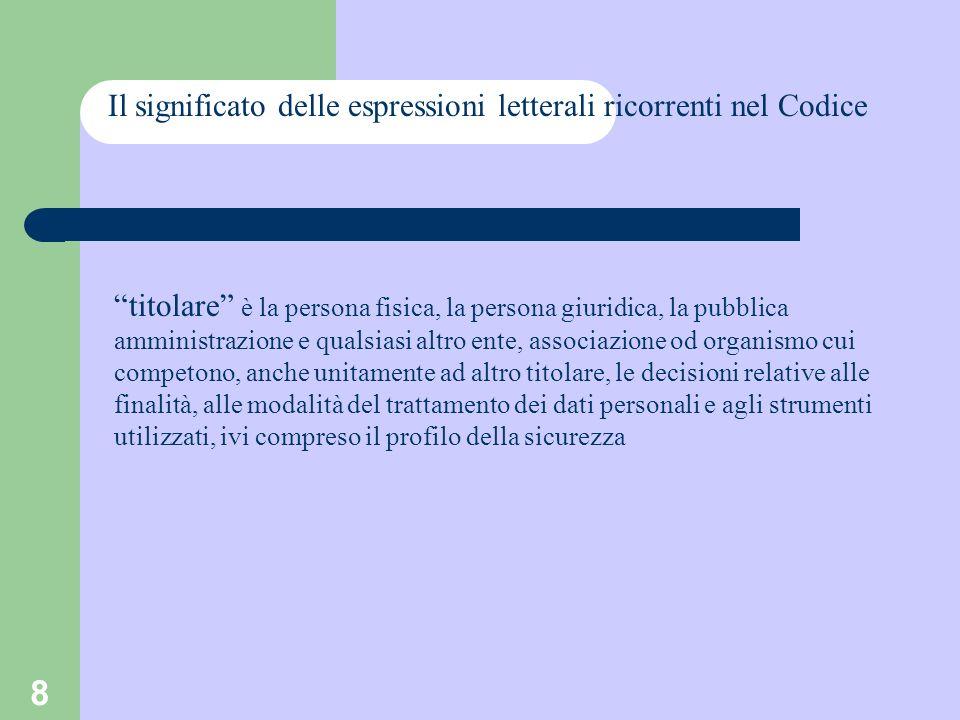 8 Il significato delle espressioni letterali ricorrenti nel Codice titolare è la persona fisica, la persona giuridica, la pubblica amministrazione e q