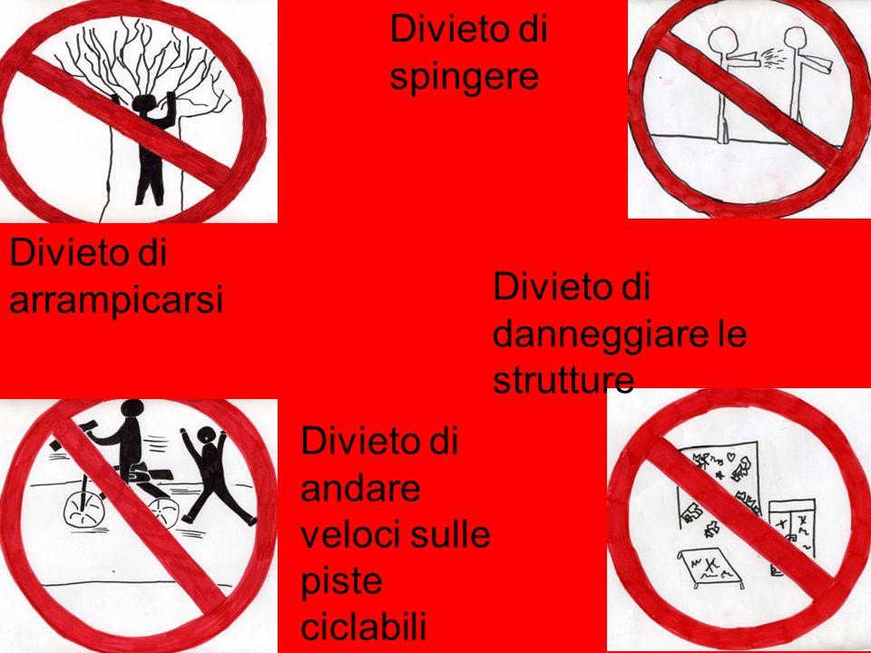 Divieto di arrampicarsi Divieto di spingere Divieto di andare veloci sulle piste ciclabili Divieto di danneggiare le strutture