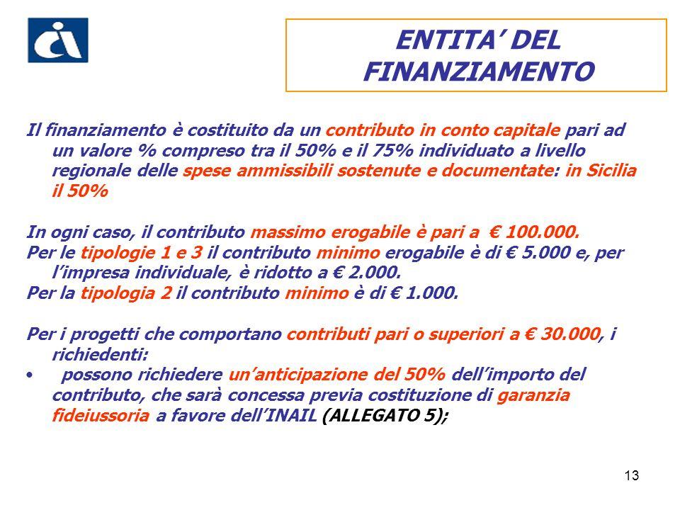13 Il finanziamento è costituito da un contributo in conto capitale pari ad un valore % compreso tra il 50% e il 75% individuato a livello regionale d
