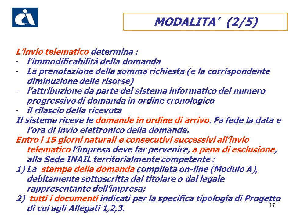 17 MODALITA (2/5) Linvio telematico determina : -limmodificabilità della domanda -La prenotazione della somma richiesta (e la corrispondente diminuzio