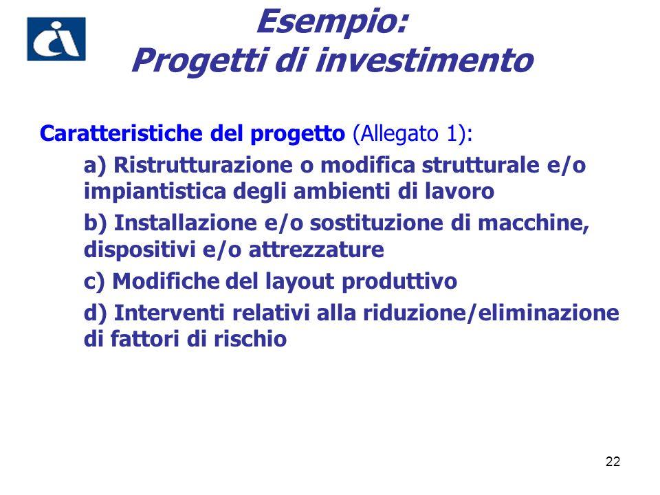 22 Esempio: Progetti di investimento Caratteristiche del progetto (Allegato 1): a) Ristrutturazione o modifica strutturale e/o impiantistica degli amb