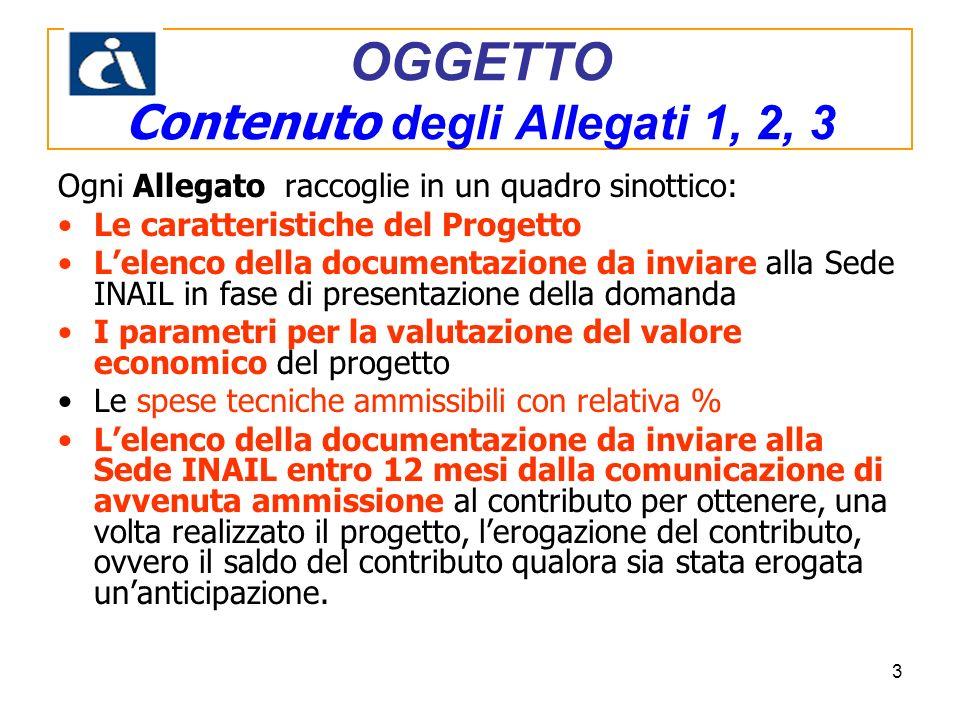 3 Ogni Allegato raccoglie in un quadro sinottico: Le caratteristiche del Progetto Lelenco della documentazione da inviare alla Sede INAIL in fase di p