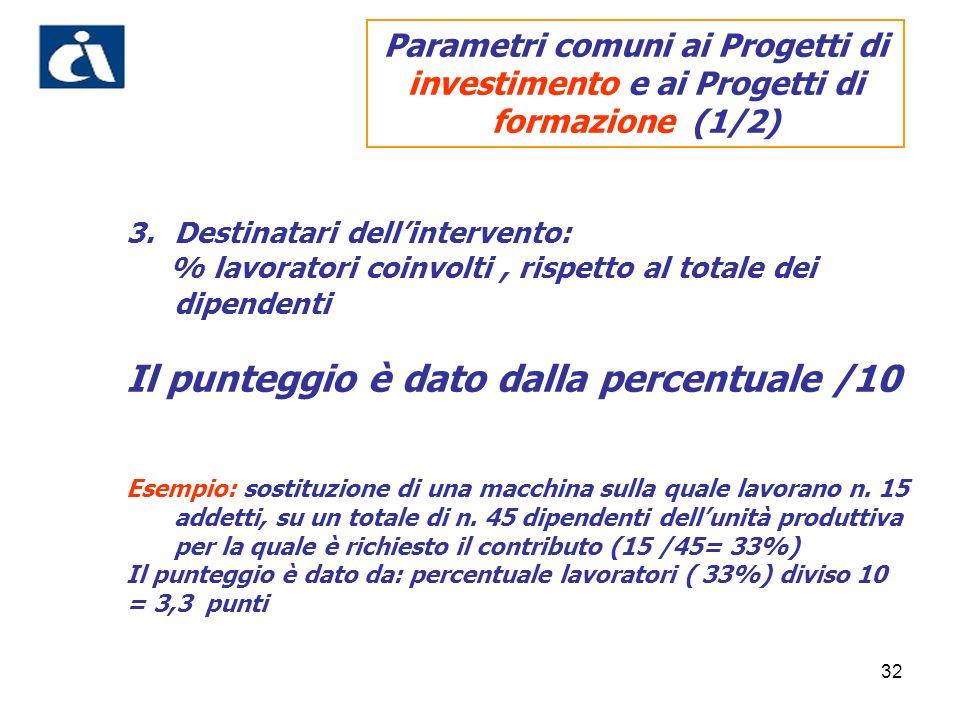 32 3.Destinatari dellintervento: % lavoratori coinvolti, rispetto al totale dei dipendenti Il punteggio è dato dalla percentuale /10 Esempio: sostituz