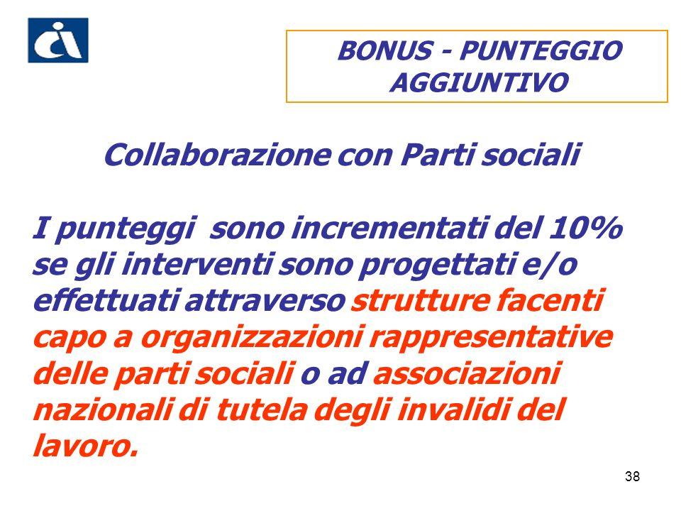 38 Collaborazione con Parti sociali I punteggi sono incrementati del 10% se gli interventi sono progettati e/o effettuati attraverso strutture facenti