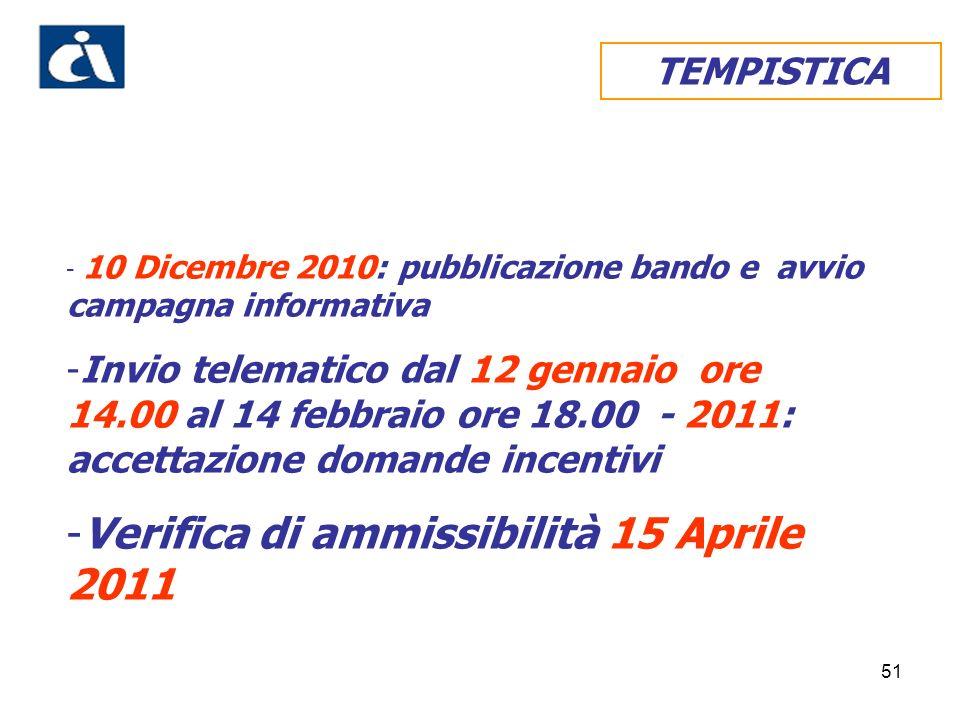 51 TEMPISTICA - 10 Dicembre 2010: pubblicazione bando e avvio campagna informativa -Invio telematico dal 12 gennaio ore 14.00 al 14 febbraio ore 18.00