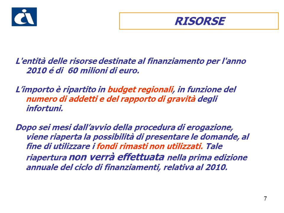 7 RISORSE L'entità delle risorse destinate al finanziamento per l'anno 2010 é di 60 milioni di euro. Limporto è ripartito in budget regionali, in funz