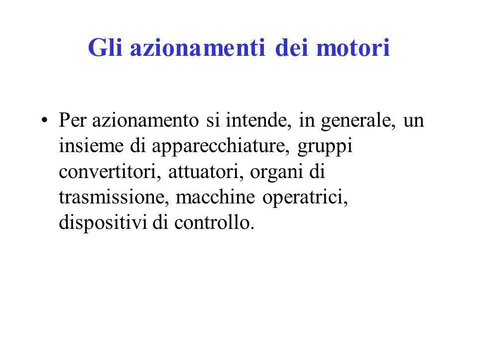 Gli azionamenti dei motori Per azionamento si intende, in generale, un insieme di apparecchiature, gruppi convertitori, attuatori, organi di trasmissi