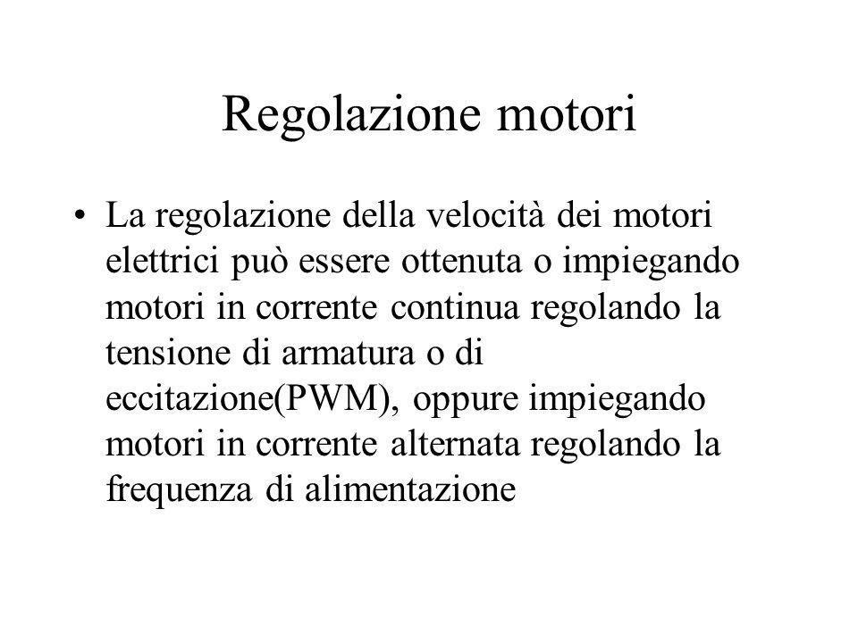 Regolazione motori La regolazione della velocità dei motori elettrici può essere ottenuta o impiegando motori in corrente continua regolando la tensio