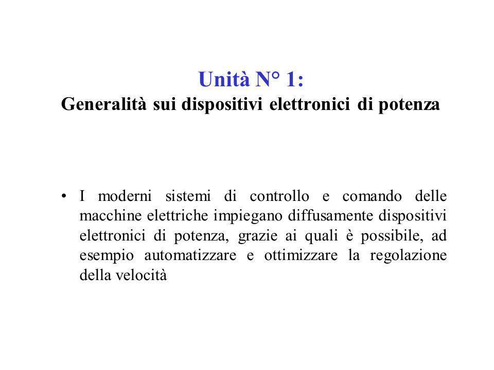 Unità N° 1: Generalità sui dispositivi elettronici di potenza I moderni sistemi di controllo e comando delle macchine elettriche impiegano diffusament