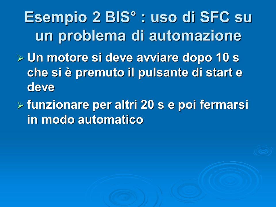 Esempio 2 BIS° : uso di SFC su un problema di automazione Un motore si deve avviare dopo 10 s che si è premuto il pulsante di start e deve Un motore s