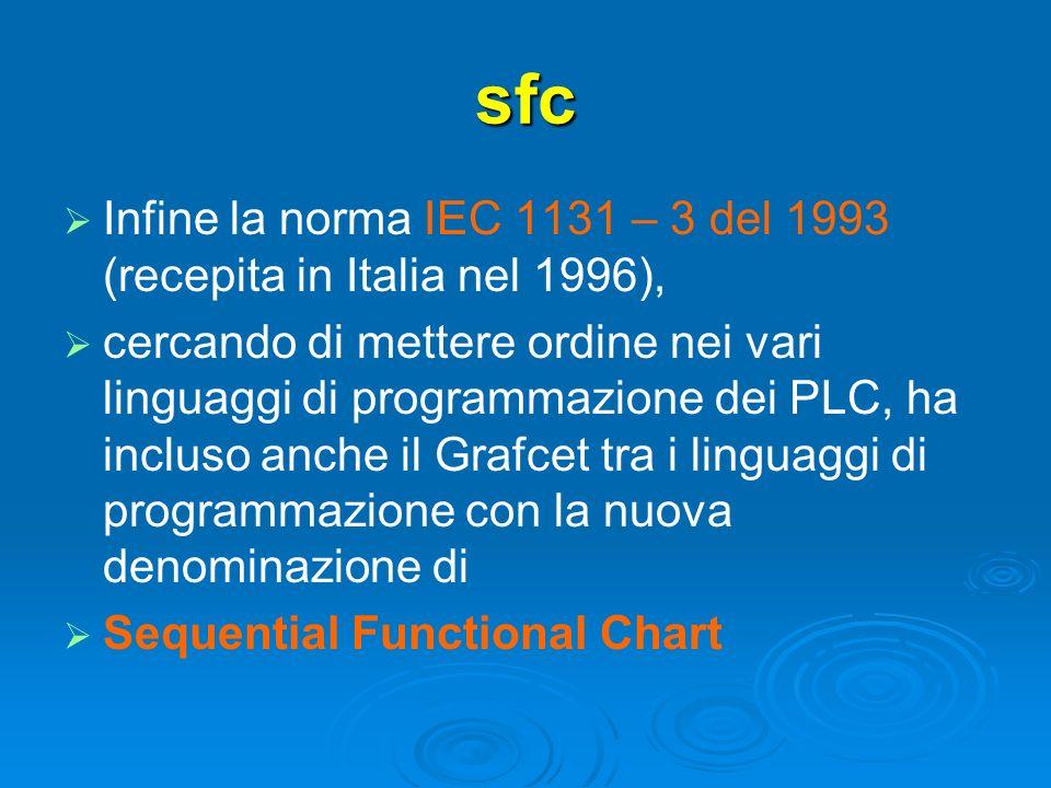 sfc Infine la norma IEC 1131 – 3 del 1993 (recepita in Italia nel 1996), cercando di mettere ordine nei vari linguaggi di programmazione dei PLC, ha i
