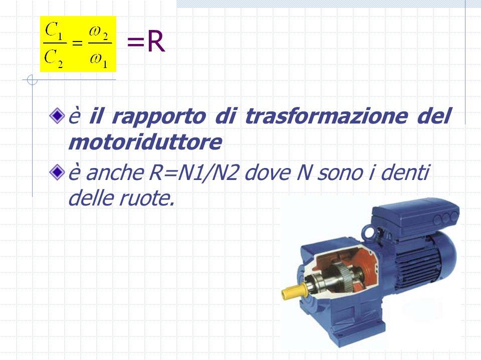 =R è il rapporto di trasformazione del motoriduttore è anche R=N1/N2 dove N sono i denti delle ruote.