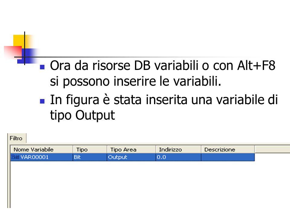 Ora da risorse DB variabili o con Alt+F8 si possono inserire le variabili. In figura è stata inserita una variabile di tipo Output