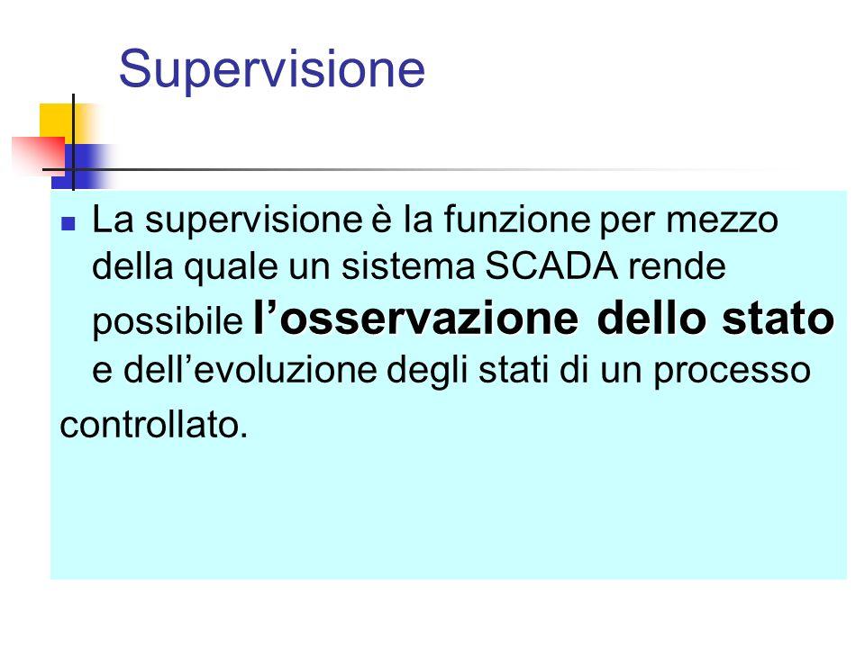 Supervisione losservazione dello stato La supervisione è la funzione per mezzo della quale un sistema SCADA rende possibile losservazione dello stato