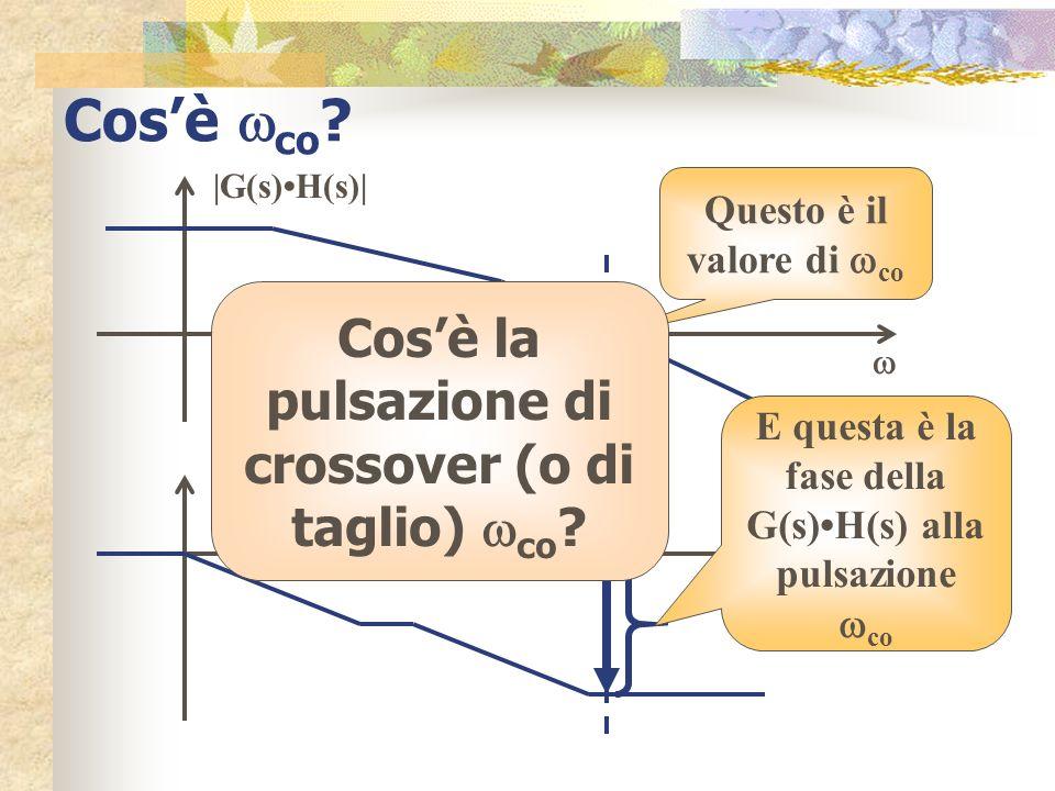 Cosè co ? co è la pulsazione (detta di crossover) per la quale il modulo del guadagno vale 1; tale valore equivale a 0 dB e quindi co è la pulsazione