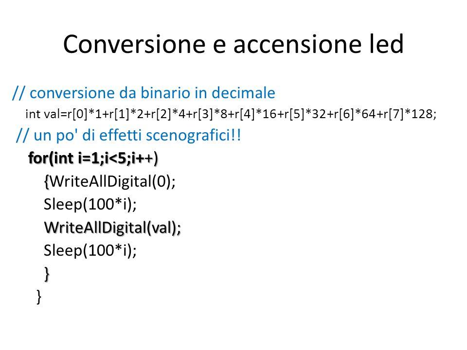Conversione e accensione led // conversione da binario in decimale int val=r[0]*1+r[1]*2+r[2]*4+r[3]*8+r[4]*16+r[5]*32+r[6]*64+r[7]*128; // un po di effetti scenografici!.
