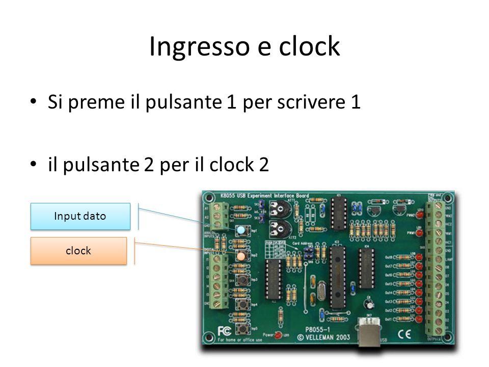 Ingresso e clock Si preme il pulsante 1 per scrivere 1 il pulsante 2 per il clock 2 Input dato clock