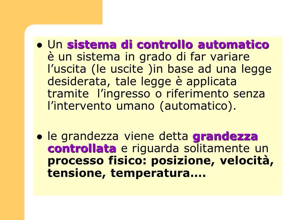 sistema di controllo automatico Un sistema di controllo automatico è un sistema in grado di far variare luscita (le uscite )in base ad una legge desid