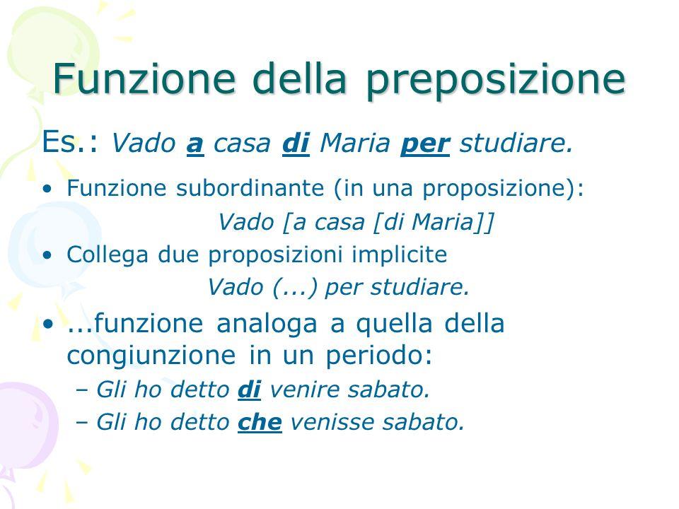 Funzione della preposizione Es.: Vado a casa di Maria per studiare. Funzione subordinante (in una proposizione): Vado [a casa [di Maria]] Collega due
