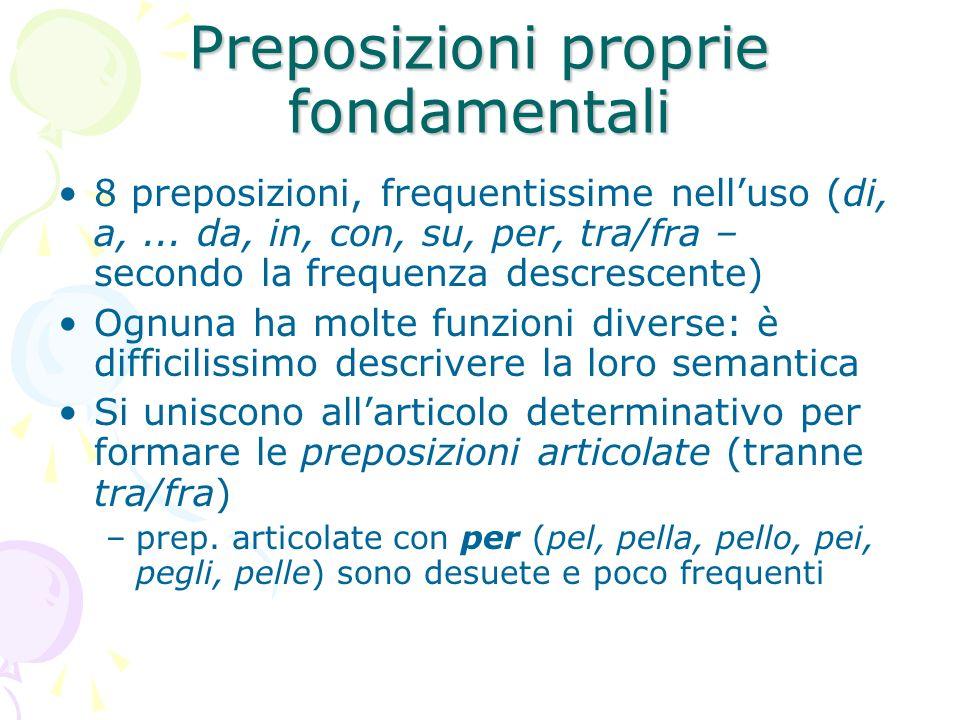 Preposizioni proprie fondamentali 8 preposizioni, frequentissime nelluso (di, a,... da, in, con, su, per, tra/fra – secondo la frequenza descrescente)