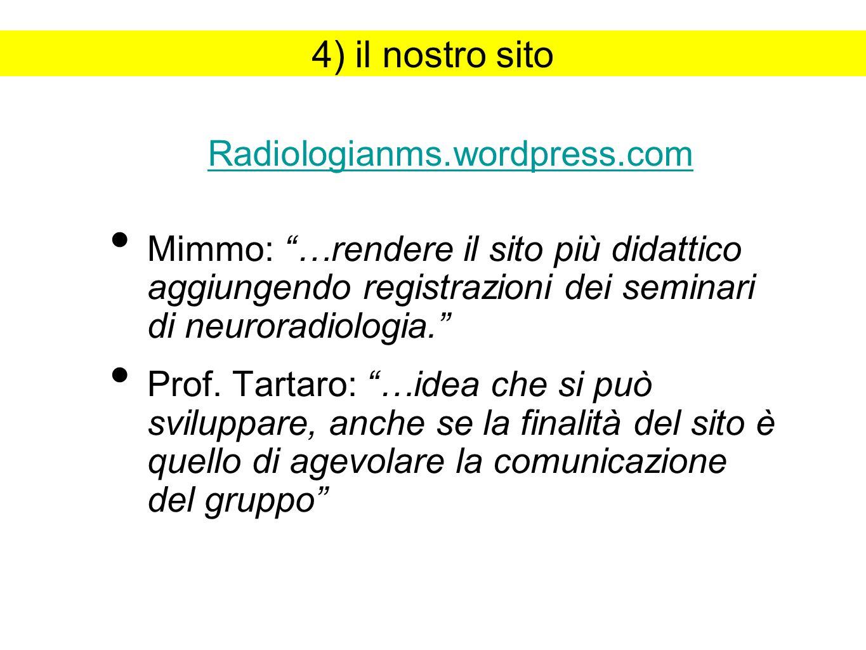 4) il nostro sito Mimmo: …rendere il sito più didattico aggiungendo registrazioni dei seminari di neuroradiologia.