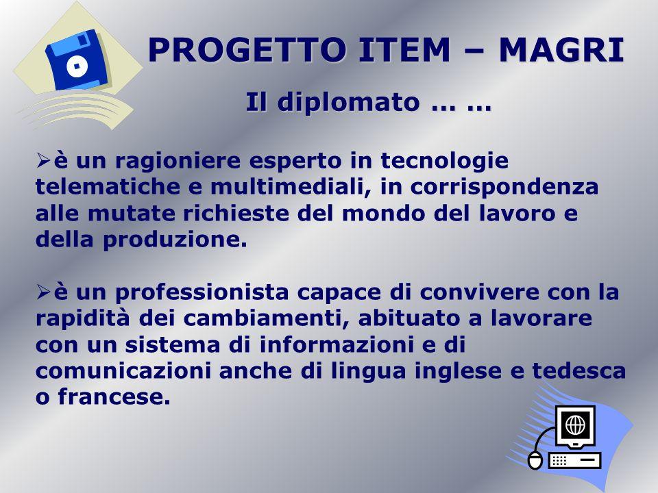 PROGETTO ITEM – MAGRI PROGETTO ITEM – MAGRI Il diplomato … … è un ragioniere esperto in tecnologie telematiche e multimediali, in corrispondenza alle