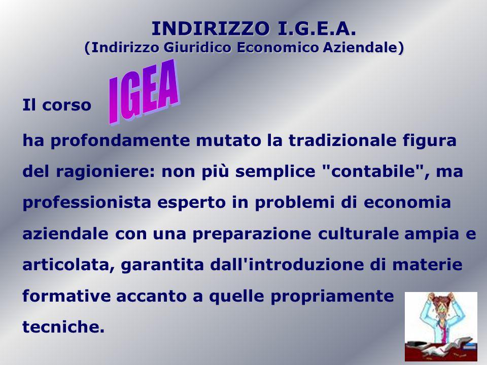 INDIRIZZO I.G.E.A. INDIRIZZO I.G.E.A. (Indirizzo Giuridico Economico Aziendale) Il corso ha profondamente mutato la tradizionale figura del ragioniere