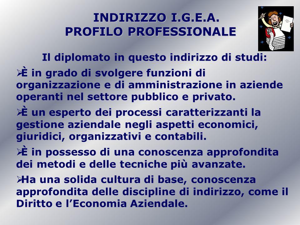 INDIRIZZO I.G.E.A. INDIRIZZO I.G.E.A. PROFILO PROFESSIONALE Il diplomato in questo indirizzo di studi: È in grado di svolgere funzioni di organizzazio