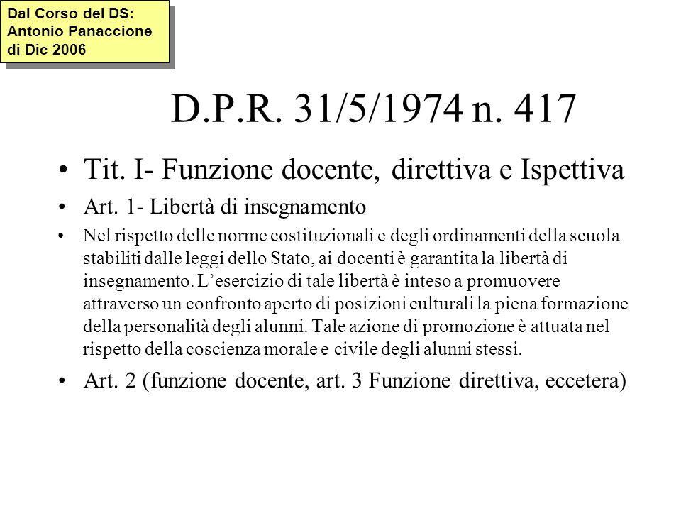D.P.R. 31/5/1974 n. 417 Tit. I- Funzione docente, direttiva e Ispettiva Art.